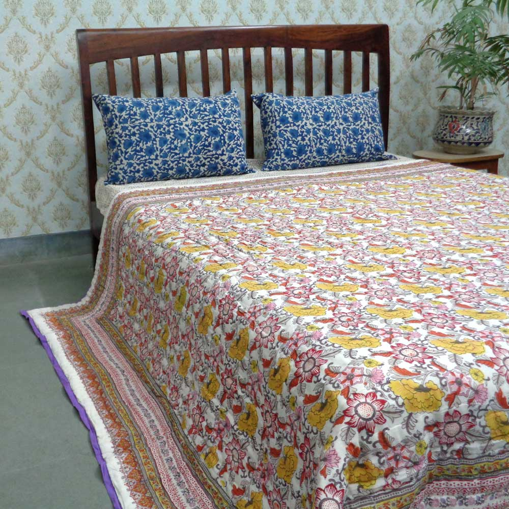 Handmade Block Printed Cotton Queen Quilt | Viola 11112