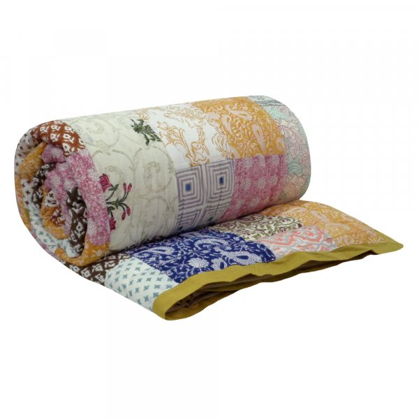 Hand Block Printed Cotton Patchwork Queen Size Quilt | 103061