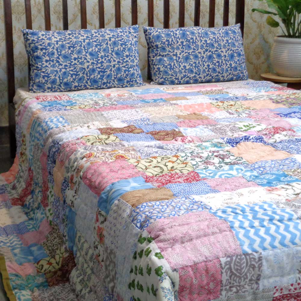 Hand Block Printed Cotton Patchwork Queen Size Quilt | 103063