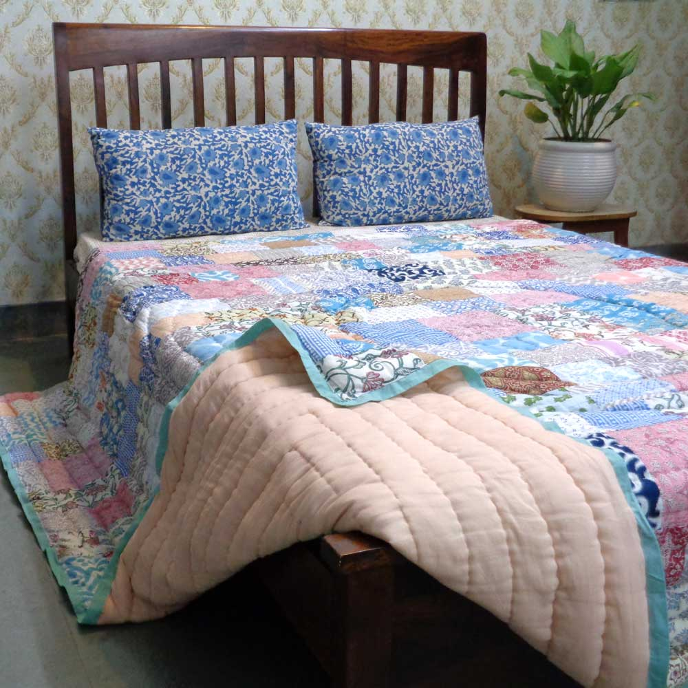 Hand Block Printed Cotton Patchwork Queen Size Quilt | 103067