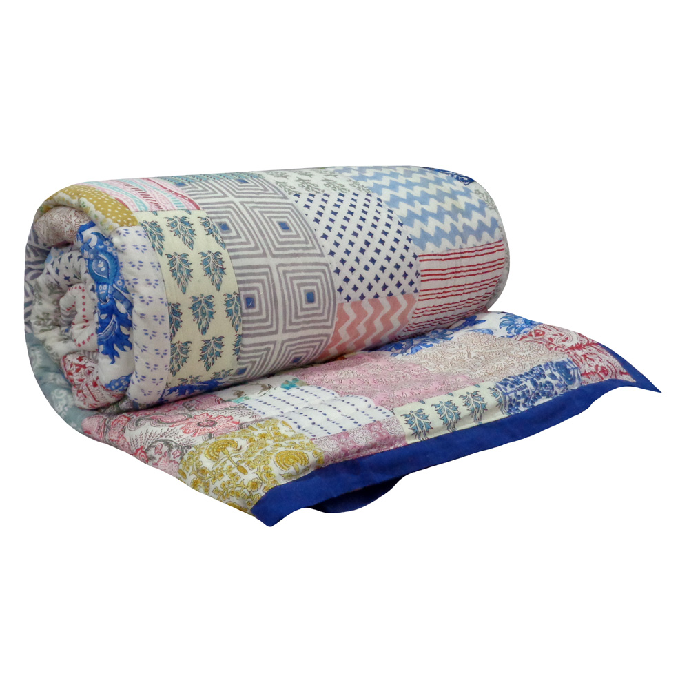 Hand Block Printed Cotton Patchwork Queen Size Quilt | 103075