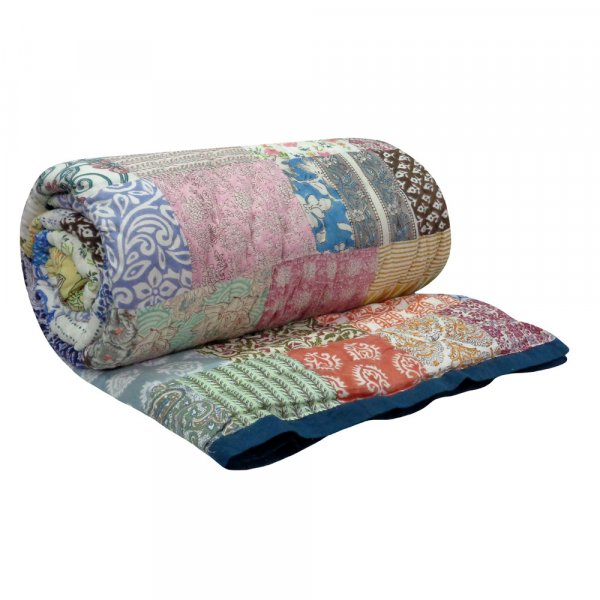 Hand Block Printed Cotton Patchwork Queen Size Quilt | 103077