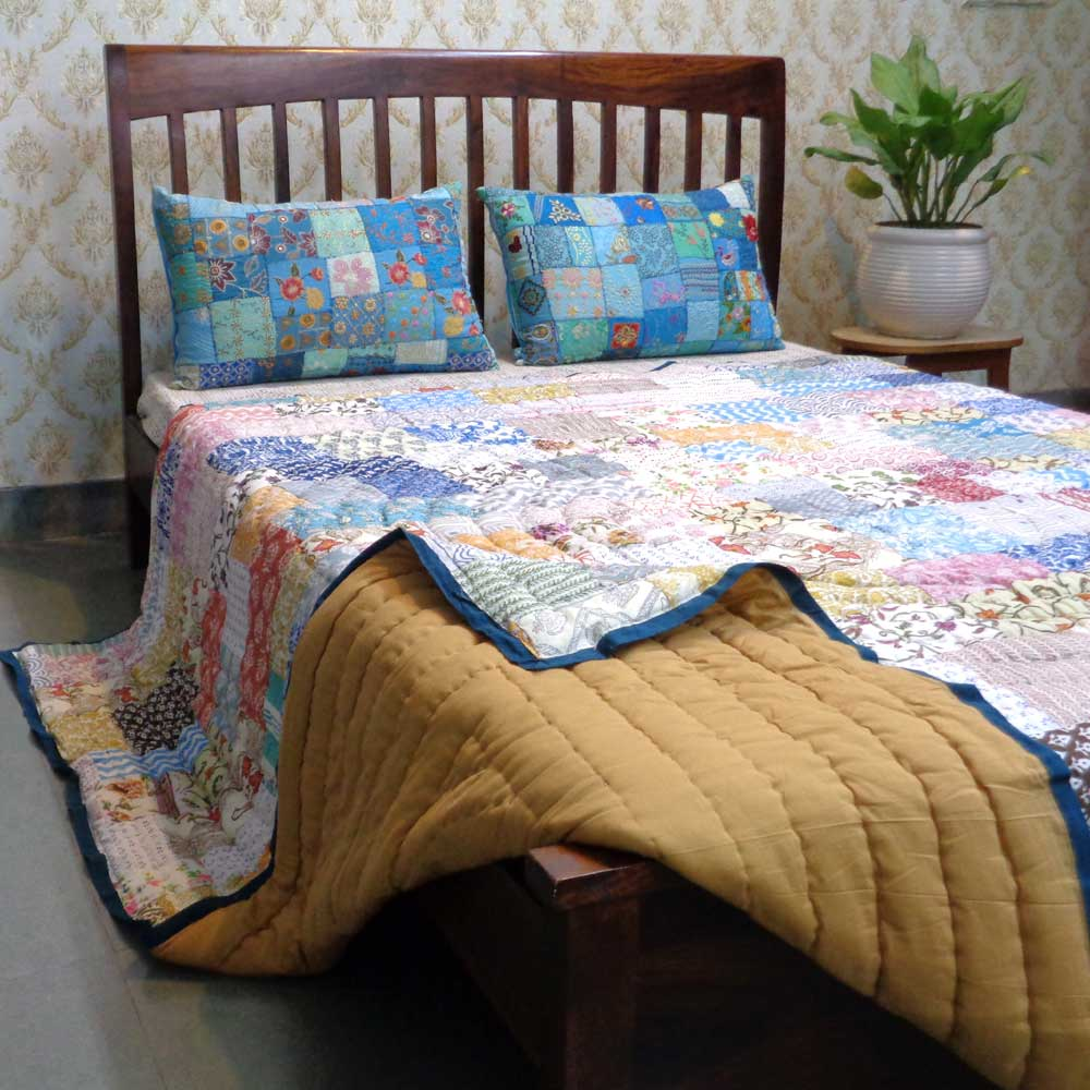 Hand Block Printed Cotton Patchwork Queen Size Quilt | 103159