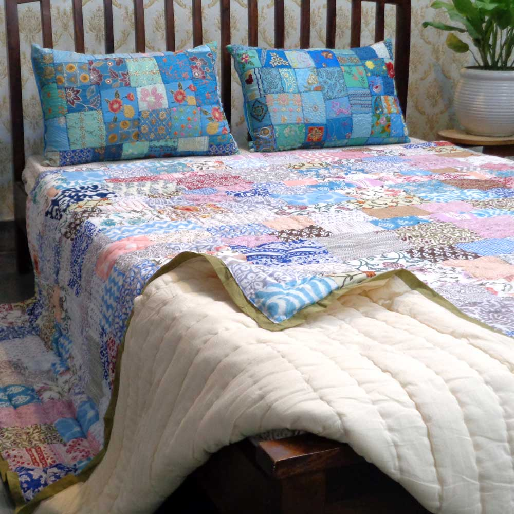 Hand Block Printed Cotton Patchwork Queen Size Quilt | 103161