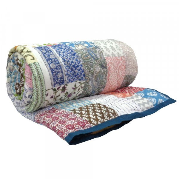 Hand Block Printed Cotton Patchwork Queen Size Quilt | 103180