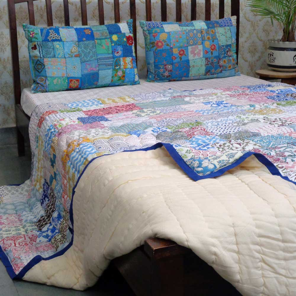 Hand Block Printed Cotton Patchwork Queen Size Quilt | 203757