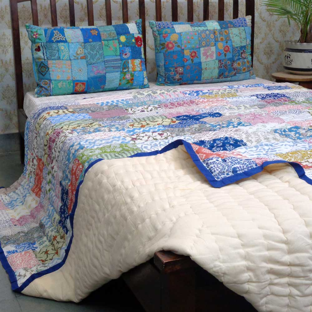 Hand Block Printed Cotton Patchwork Queen Size Quilt | 203765