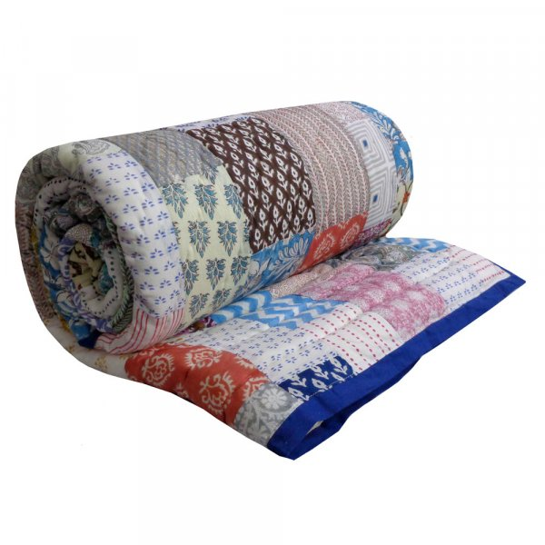 Hand Block Printed Cotton Patchwork Queen Size Quilt | 203767