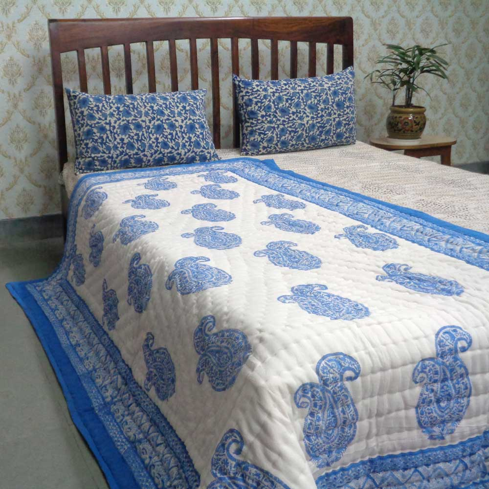 Hand Block Printed Twin Size Quilt | Big Paisley Blue 101615