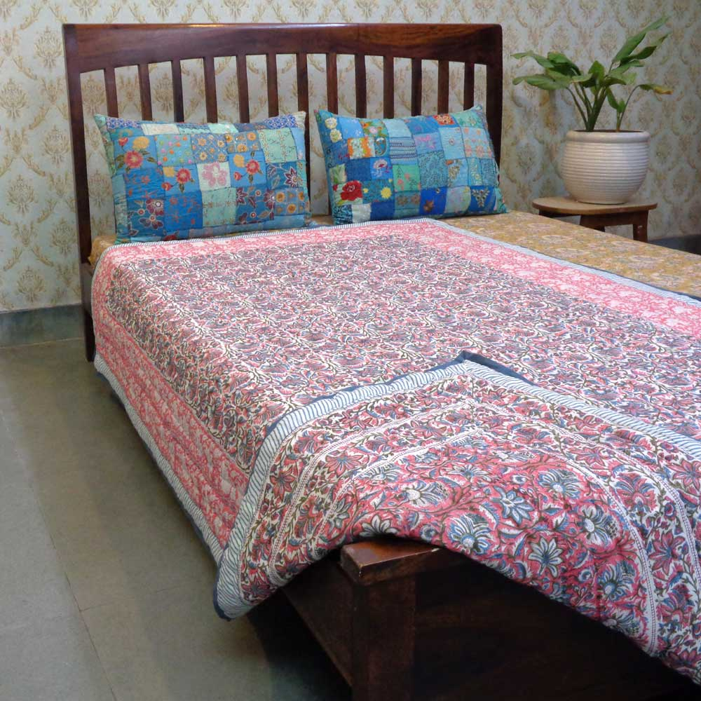 Hand Block Printed Cotton Twin Size Quilt | 101947