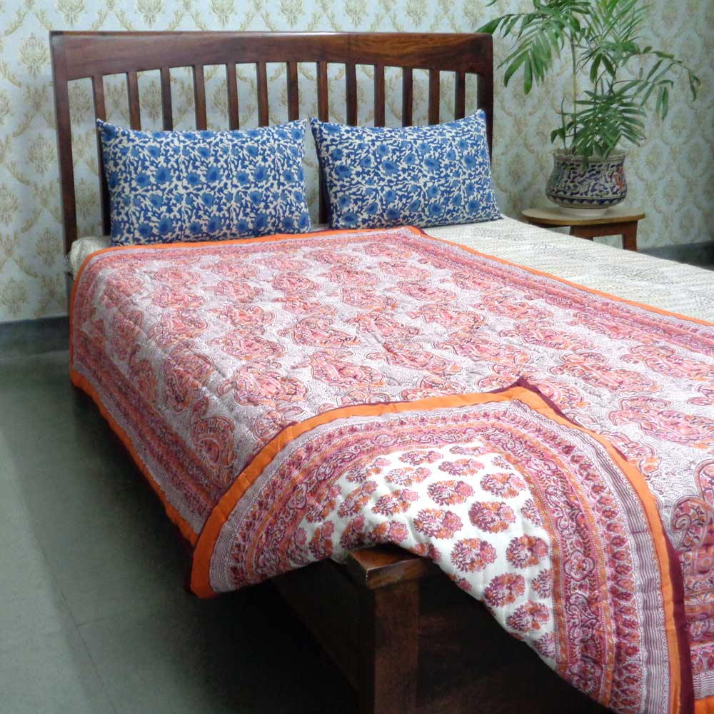 Hand Block Printed Cotton Twin Size Quilt | Big Paisley Pink 101964