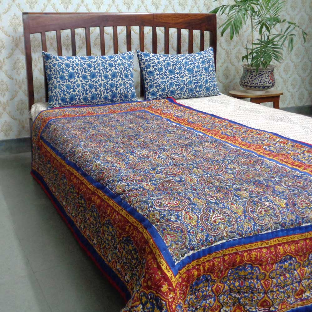 Handmade Block Printed Cotton Twin Size Quilt | Russian Print 101970
