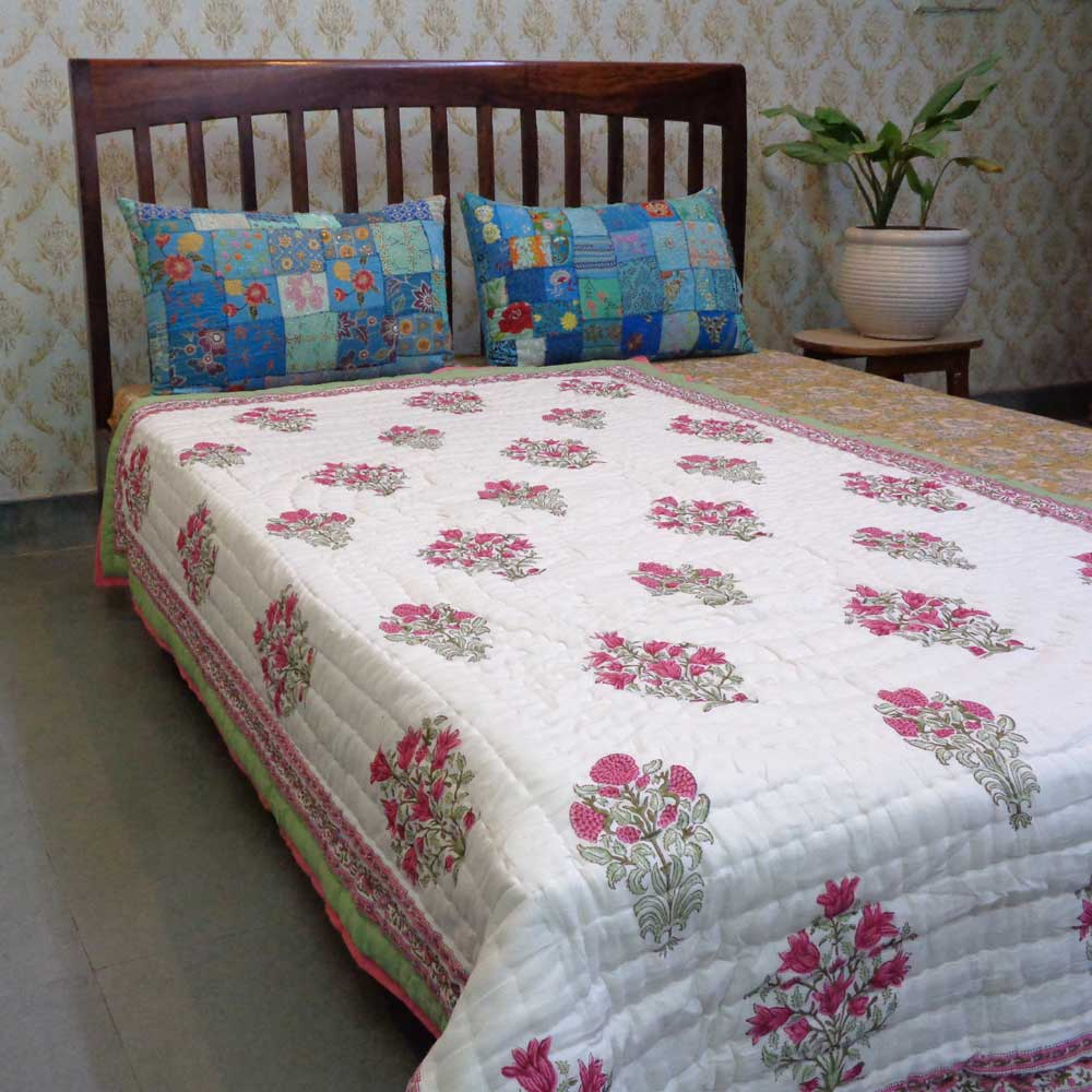 Hand Block Printed Cotton Twin Size Quilt | 102010