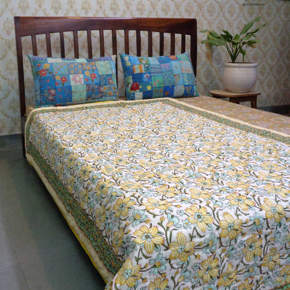 Hand Block Printed Cotton Twin Size Quilt | 102032