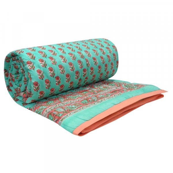 Hand Block Printed Cotton Twin Size Quilt | 102036