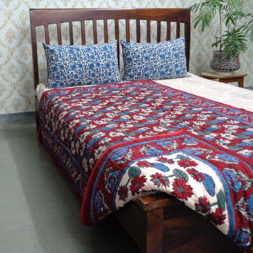Twin Size Handmade Block Printed Cotton Quilt | Lotus Rio Red 102371