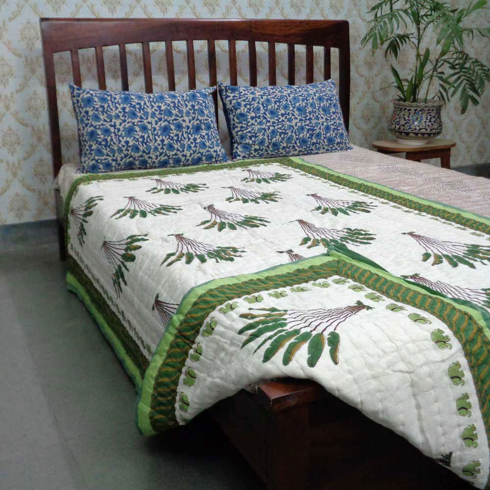 Handmade Block Printed Cotton Twin Size Quilt | Banana Leaf 105171