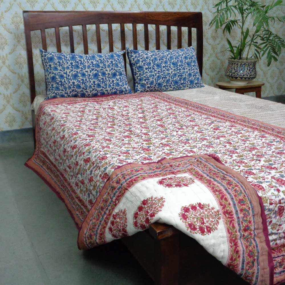 Handmade Block Printed Cotton Twin Size Quilt | Genda Bale 105180