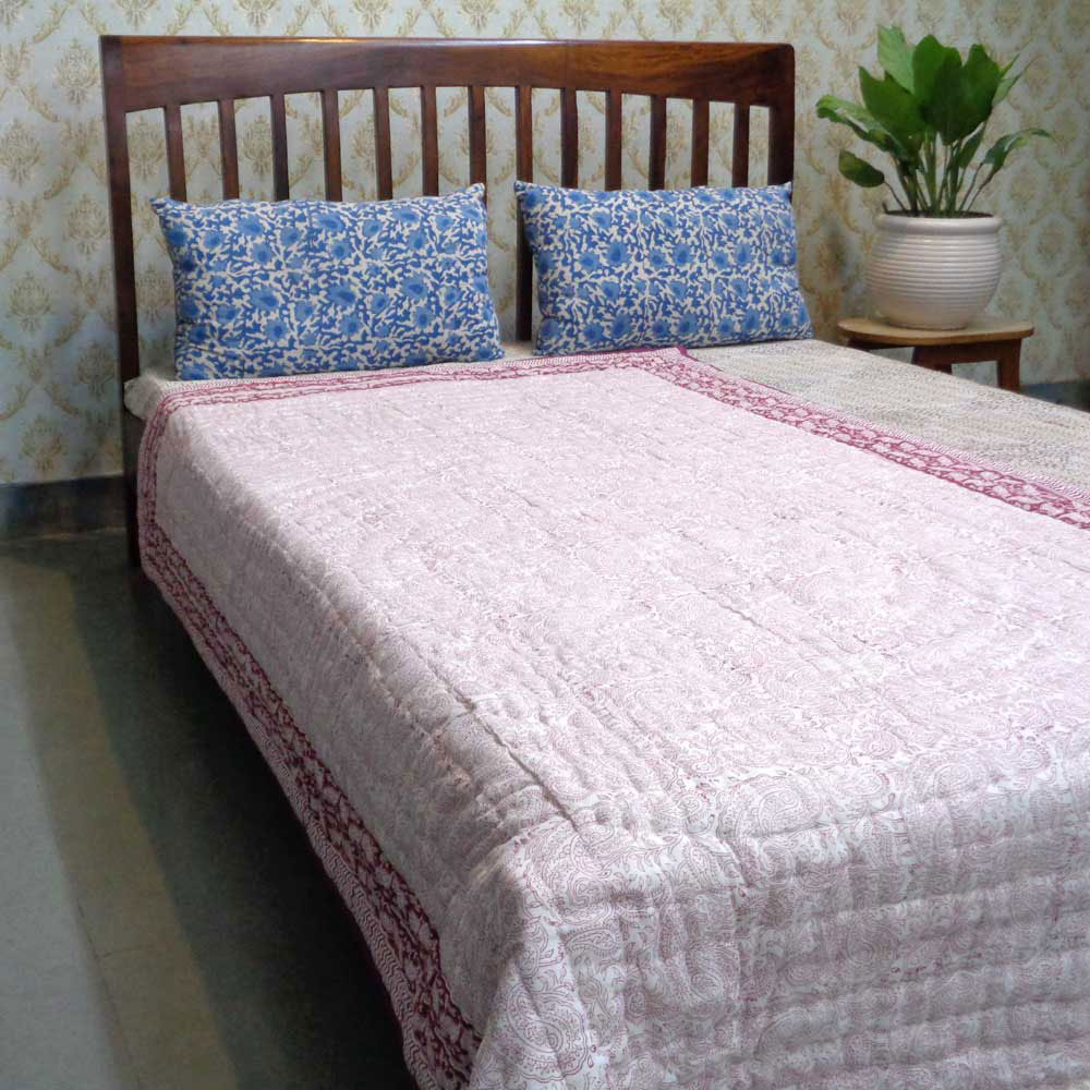 Hand Block Printed Cotton Twin Size Quilt | Ambi Lal 102427