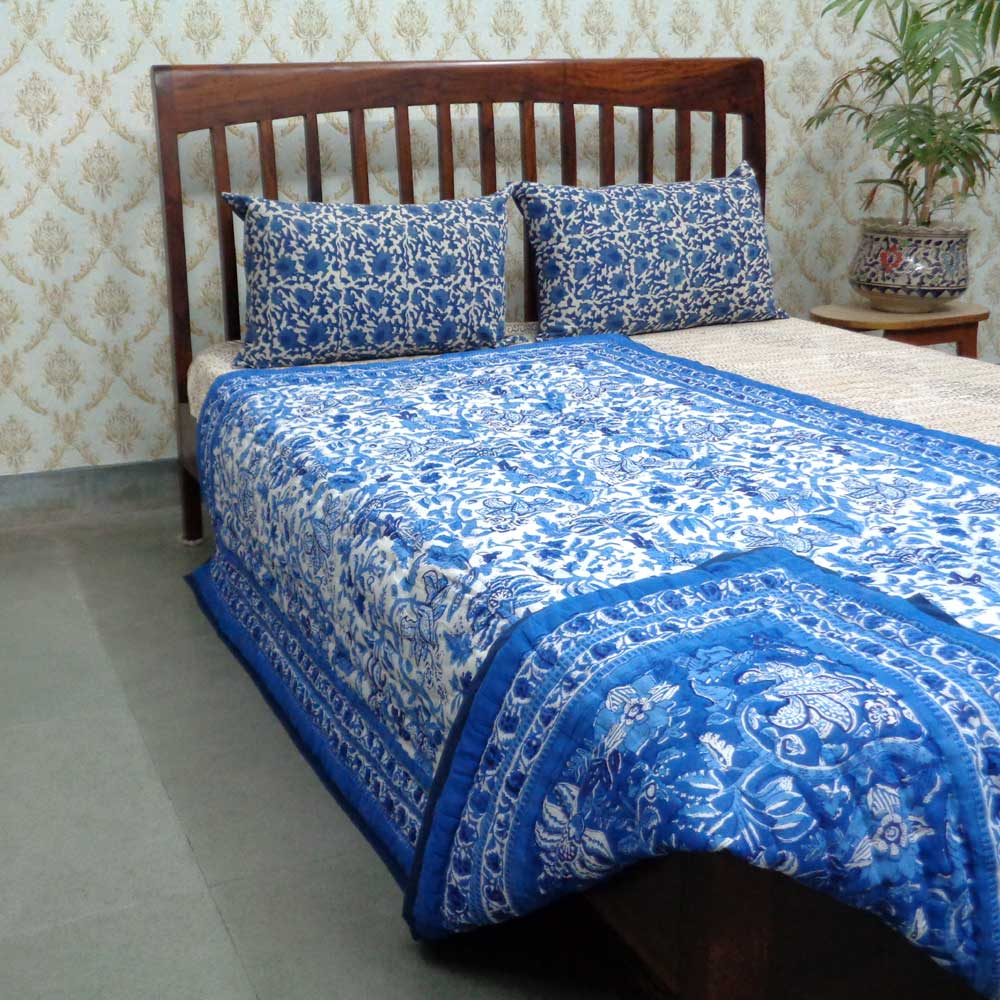 Indian Hand Block Printed Cotton Twin Quilt | Anarkali Blue 1559