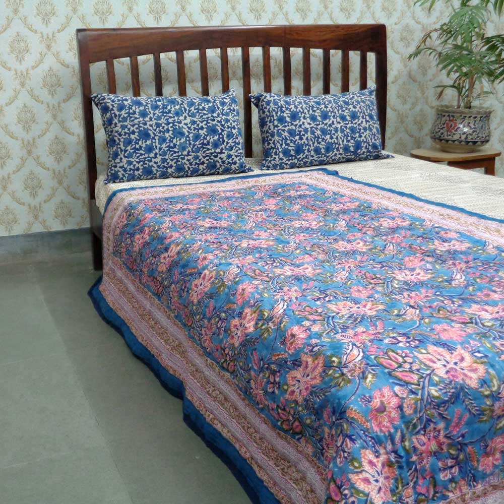 Hand Block Printed Cotton Twin Size Quilt | Misty Blue 0934