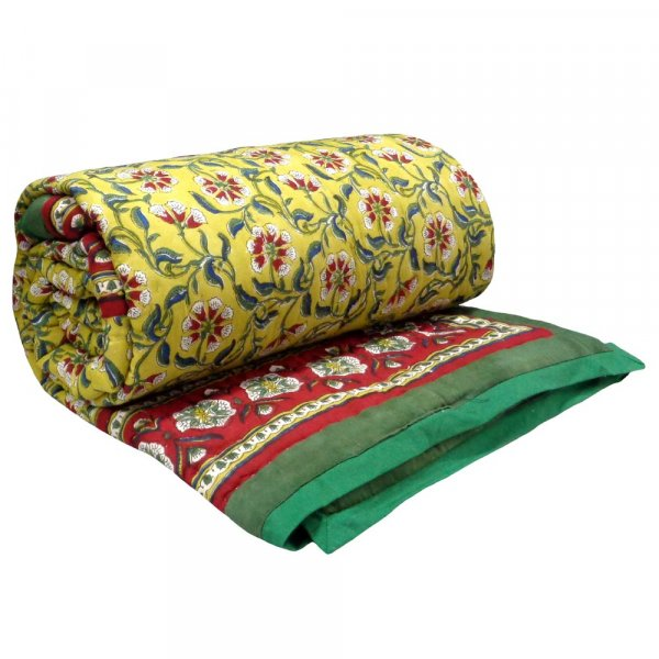 Hand Block Printed Twin Size Quilt | Chakri Green 102531