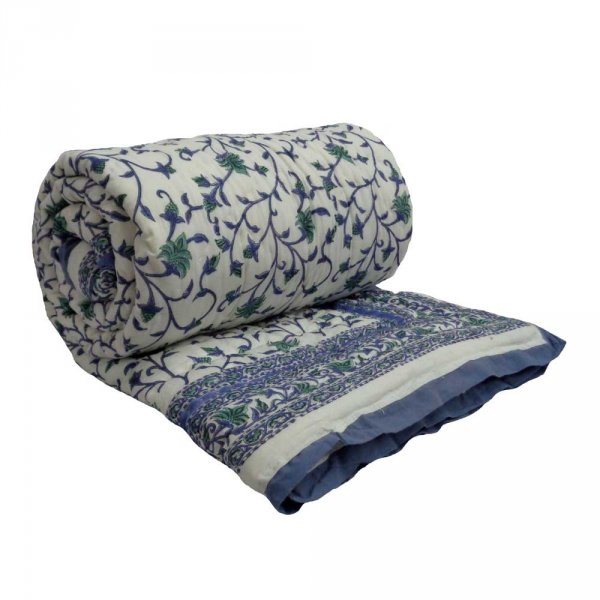 FLORAL BALE BLUE 4851 Hand Block Printed Blue vine print Cotton Twin Quilt