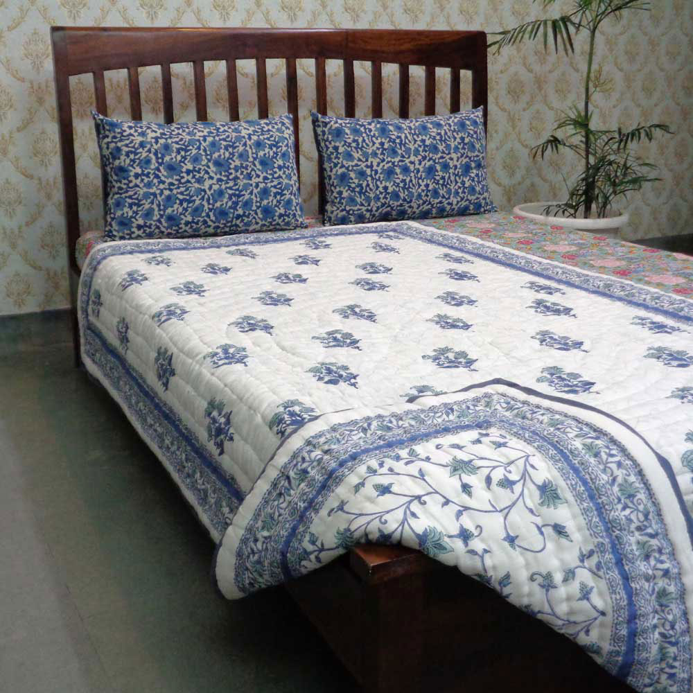 Indian Hand Block Printed Cotton Twin Quilt | Floral Bale 4851