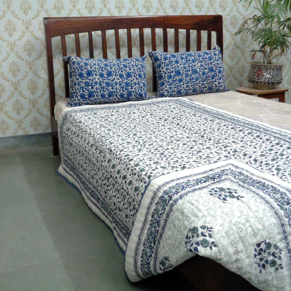 Hand Block Printed Twin Size Quilt | Floral Kali 3963