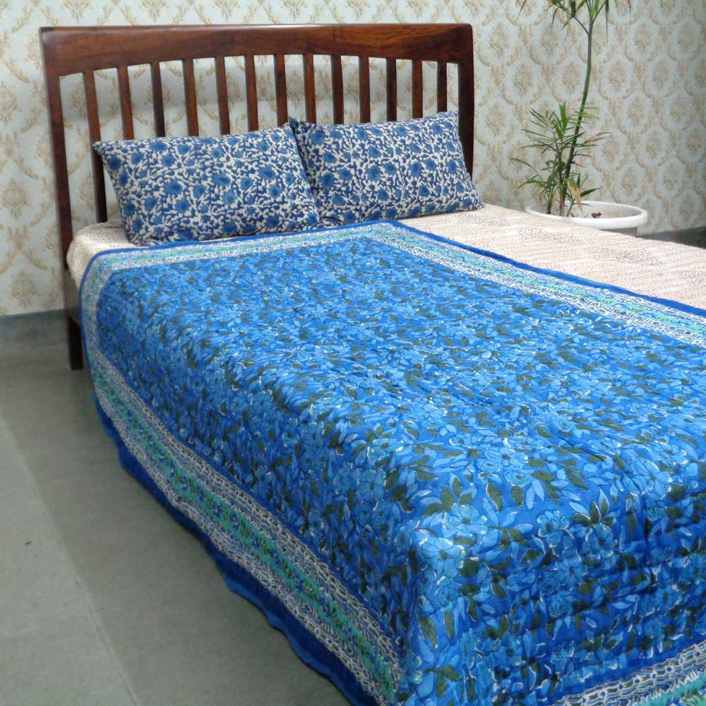 Handmade Block Printed Cotton Twin Size Quilt | Flower Bush Marina 108544