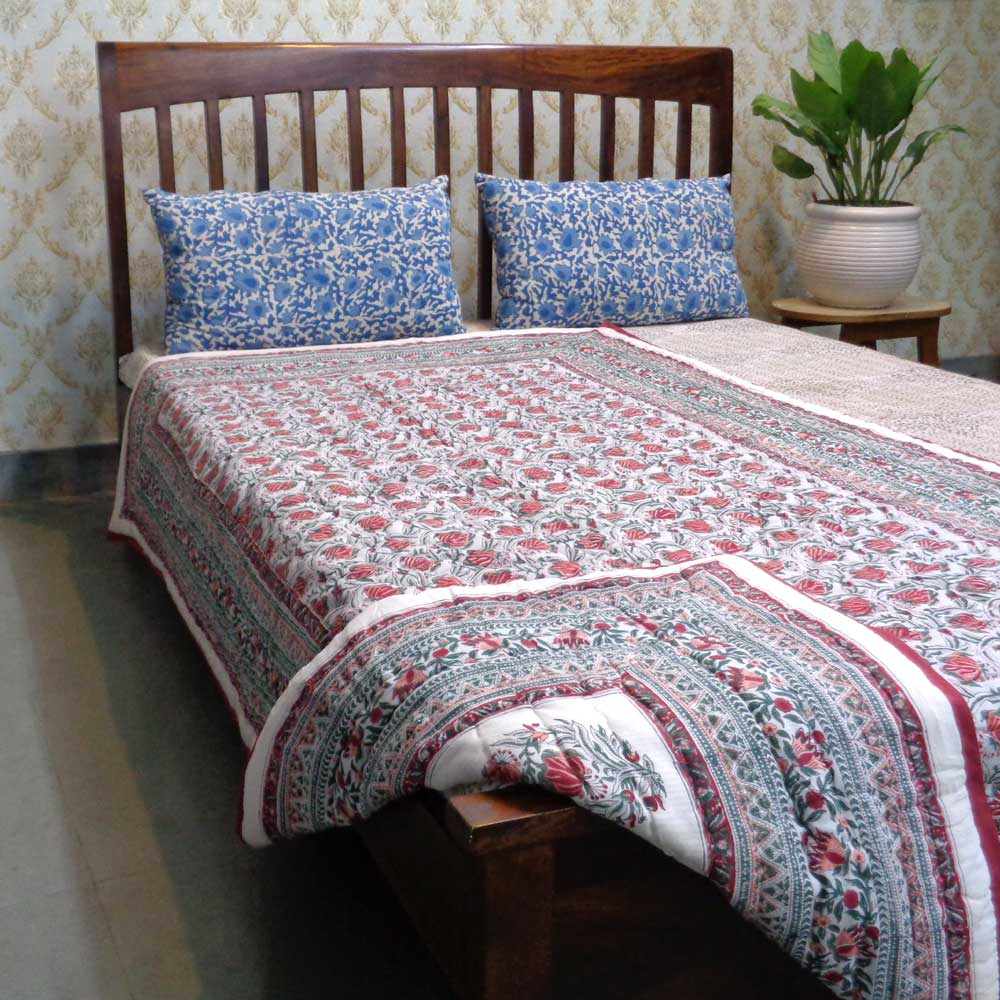 Hand Block Printed Cotton Twin Size Quilt | Frost Grey Floral 102409