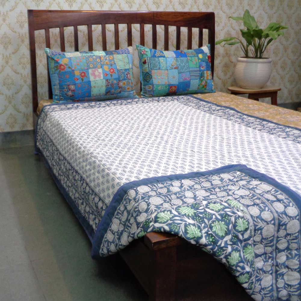 Hand Block Printed Cotton Twin Size Quilt | Hara Grey 105449