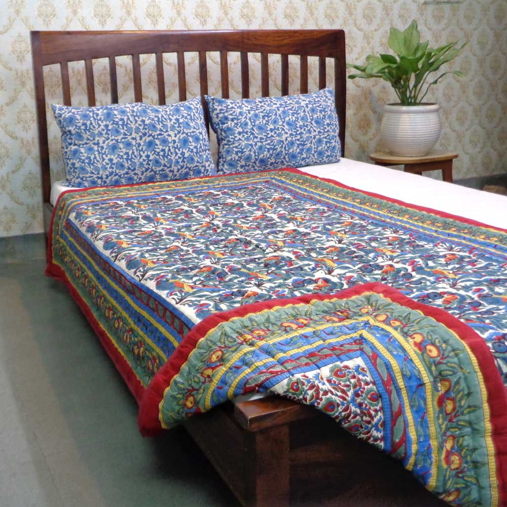 Hand Block Printed Cotton Twin Size Quilt | Love Birds 4507