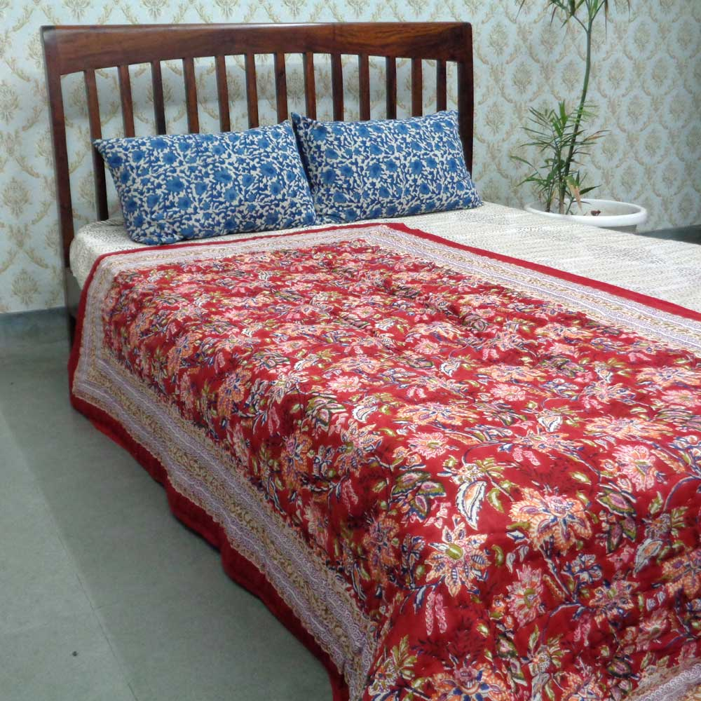 Hand Block Printed Twin Size Quilt | Misty Red 108530