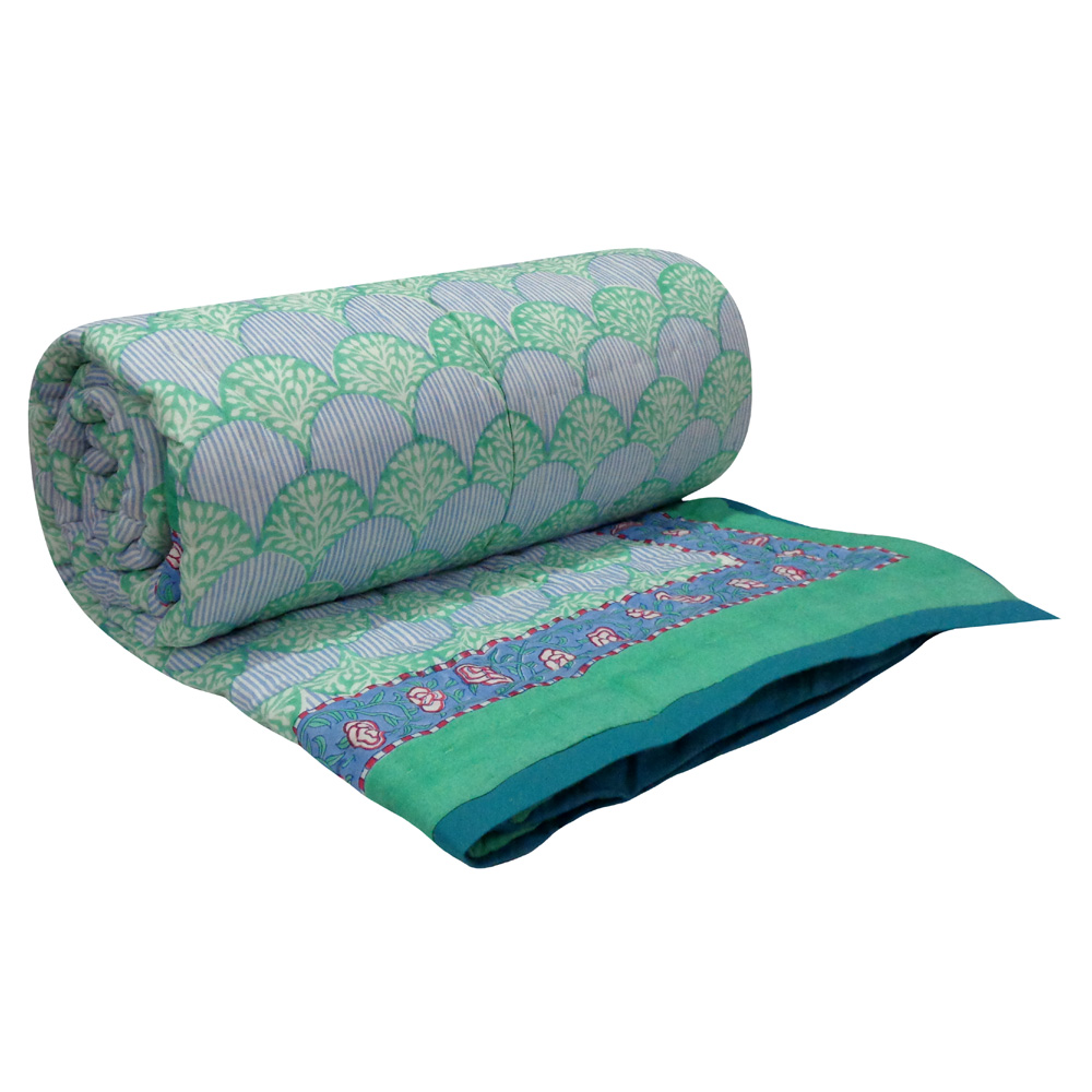Hand Block Printed Cotton Twin Size Quilt | Ogee Peacock Green 102026