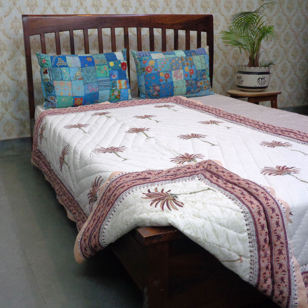 Hand Block Printed Cotton Twin Size Quilt | Palm Tree Pink 203487