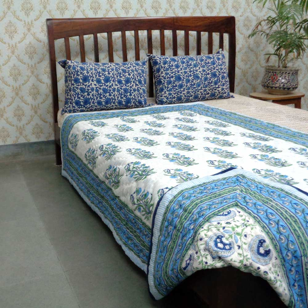 Hand Block Printed Twin Size Quilt | Pan Leaf Blue 3811