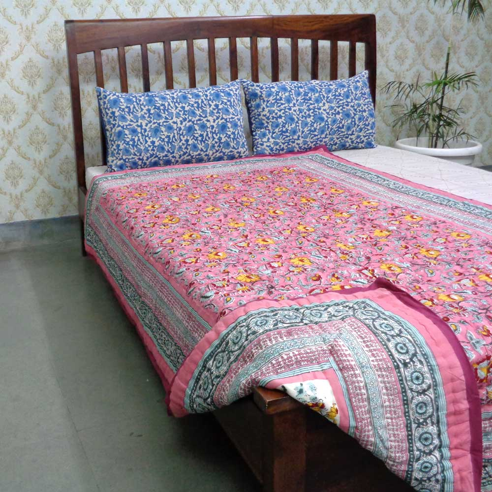Hand Block Printed Cotton Twin Size Quilt | Phuljhari Pink 21432