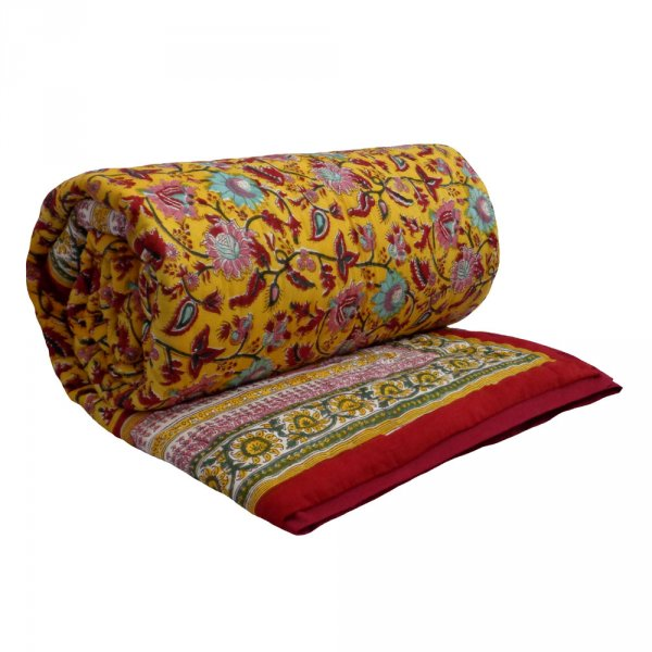Hand Block Printed Twin Size Quilt | Phuljhari Lime 3820