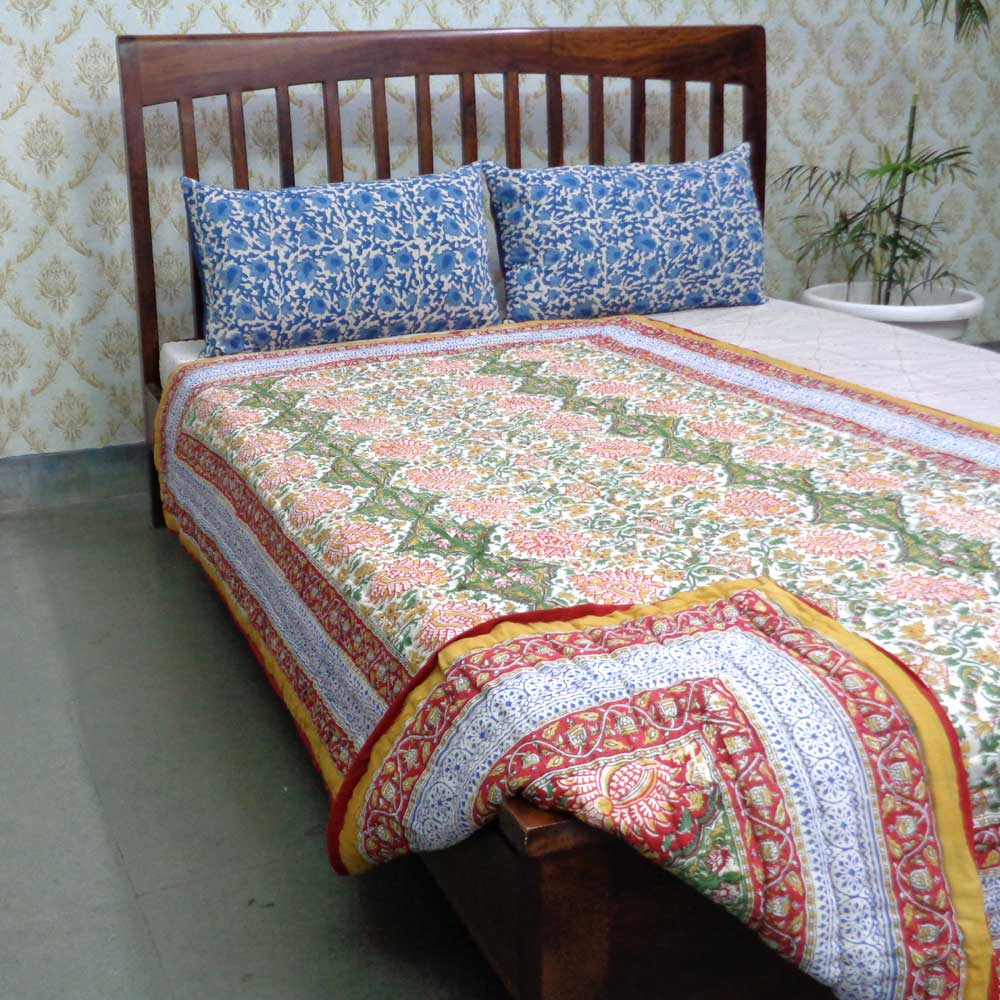 Hand Block Printed Cotton Twin Size Quilt | Ratlami Red 1642