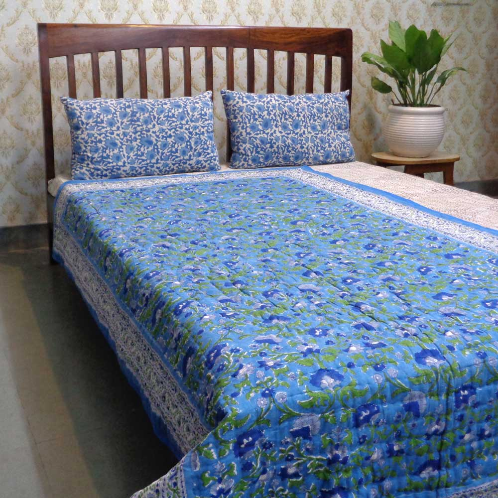 Hand Block Printed Cotton Twin Size Quilt | Rukhsana Blue 102436