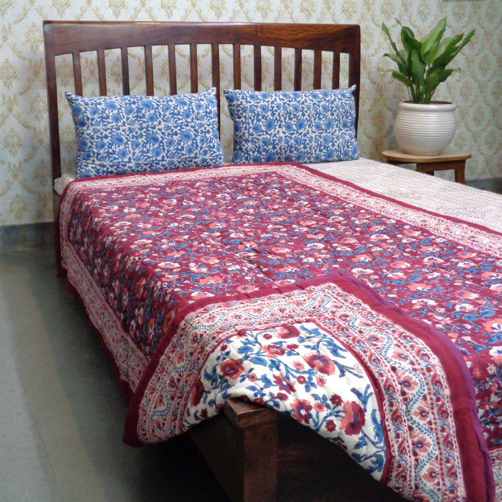 Hand Block Printed Cotton Twin Size Quilt | Rukhsana Maroon 101828