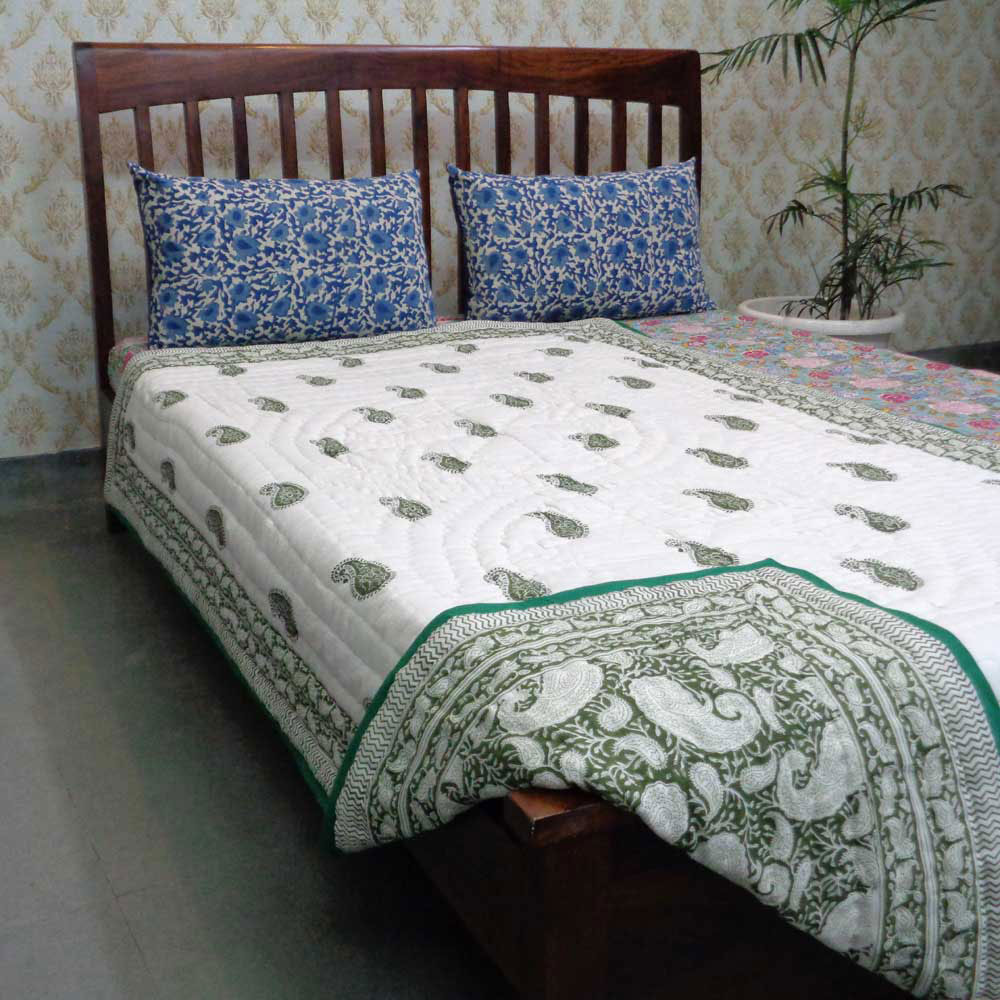 Handmade Block Printed Cotton Twin Size Quilt | Ambi Shale Green 105845