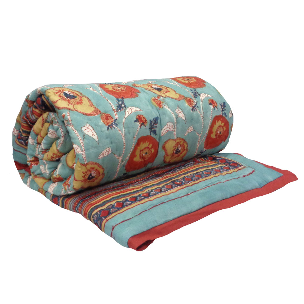 Hand Block Printed Twin Size Quilt | Teal Flower 108549