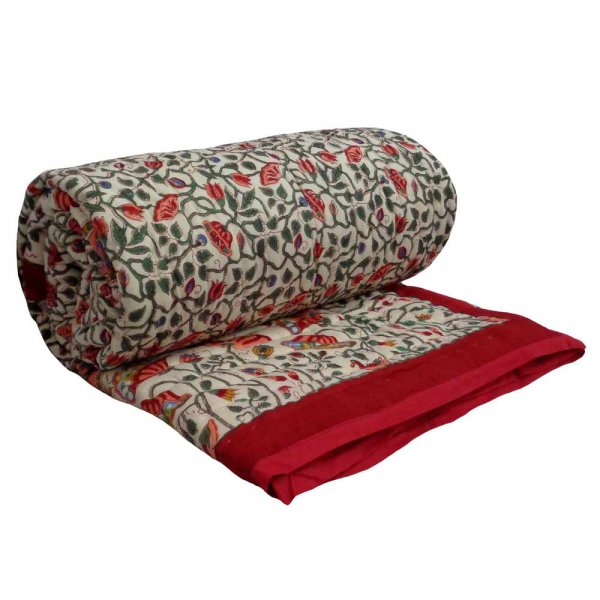 Hand Block Printed Cotton Twin Size Quilt | Waterlily Red 10471