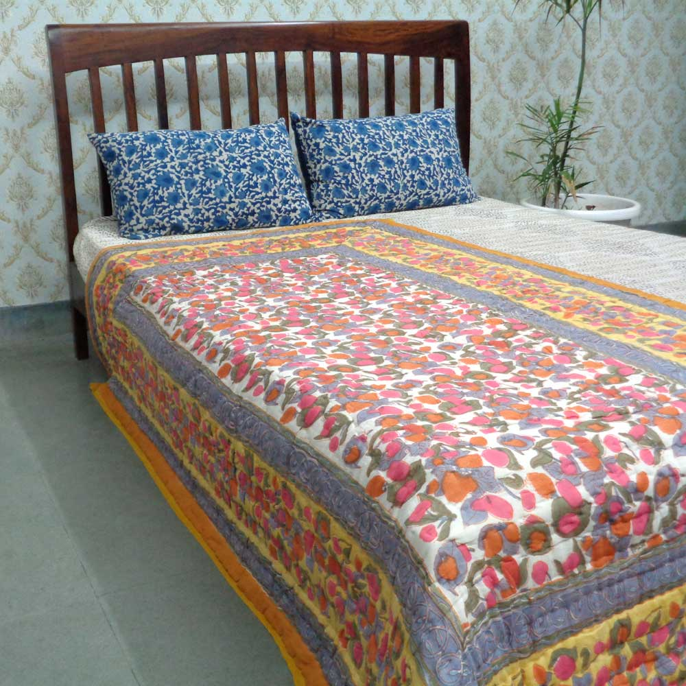 Hand Block Printed Twin Size Quilt | Wet Leaves 108529