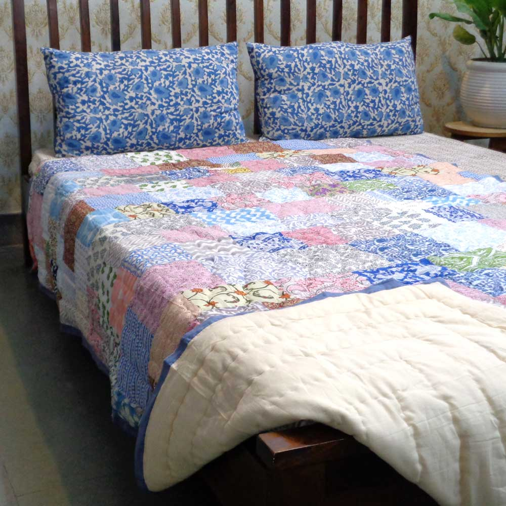 Hand Block Printed Cotton Patchwork Twin Size Quilt | 102950