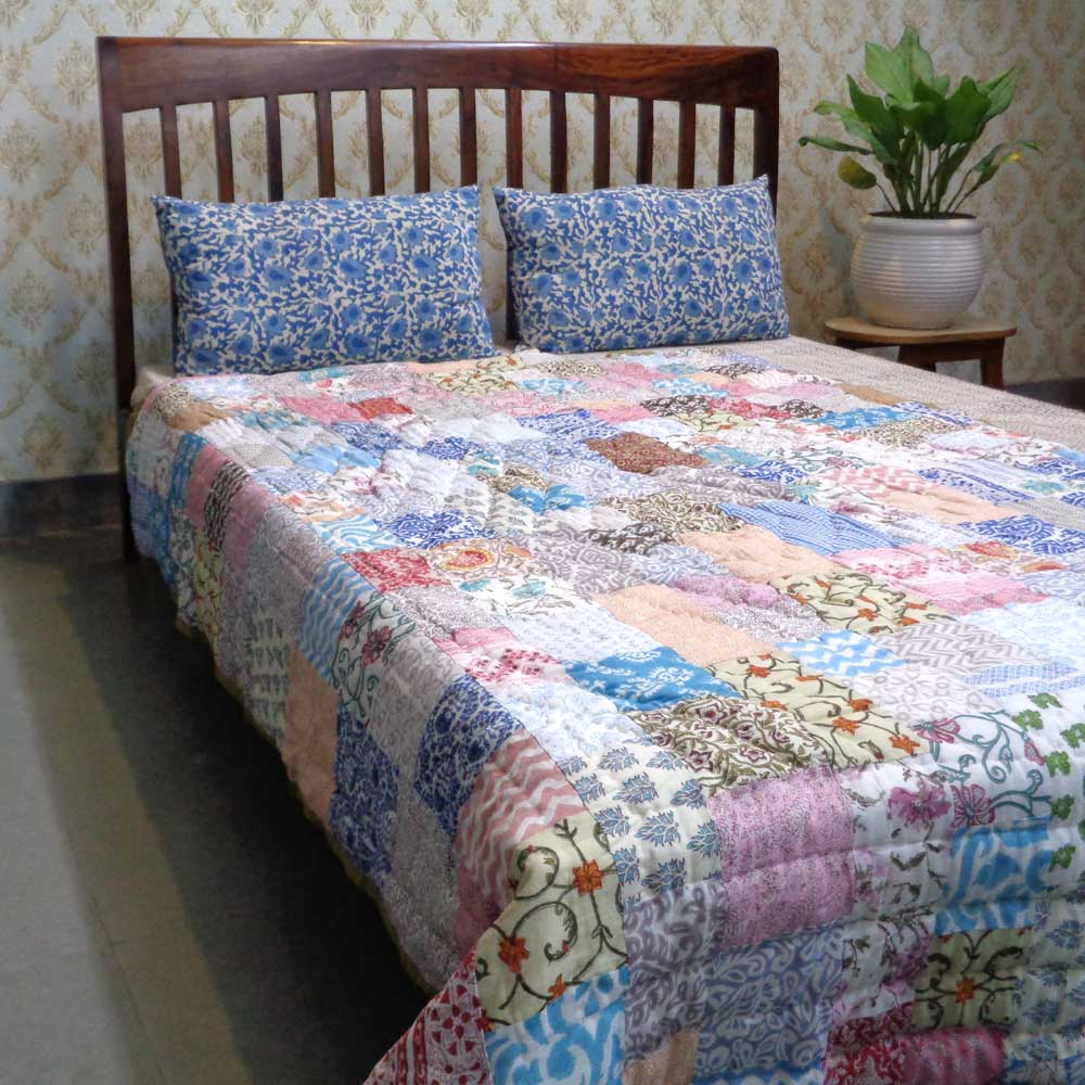 Hand Block Printed Cotton Patchwork Twin Size Quilt | 102952