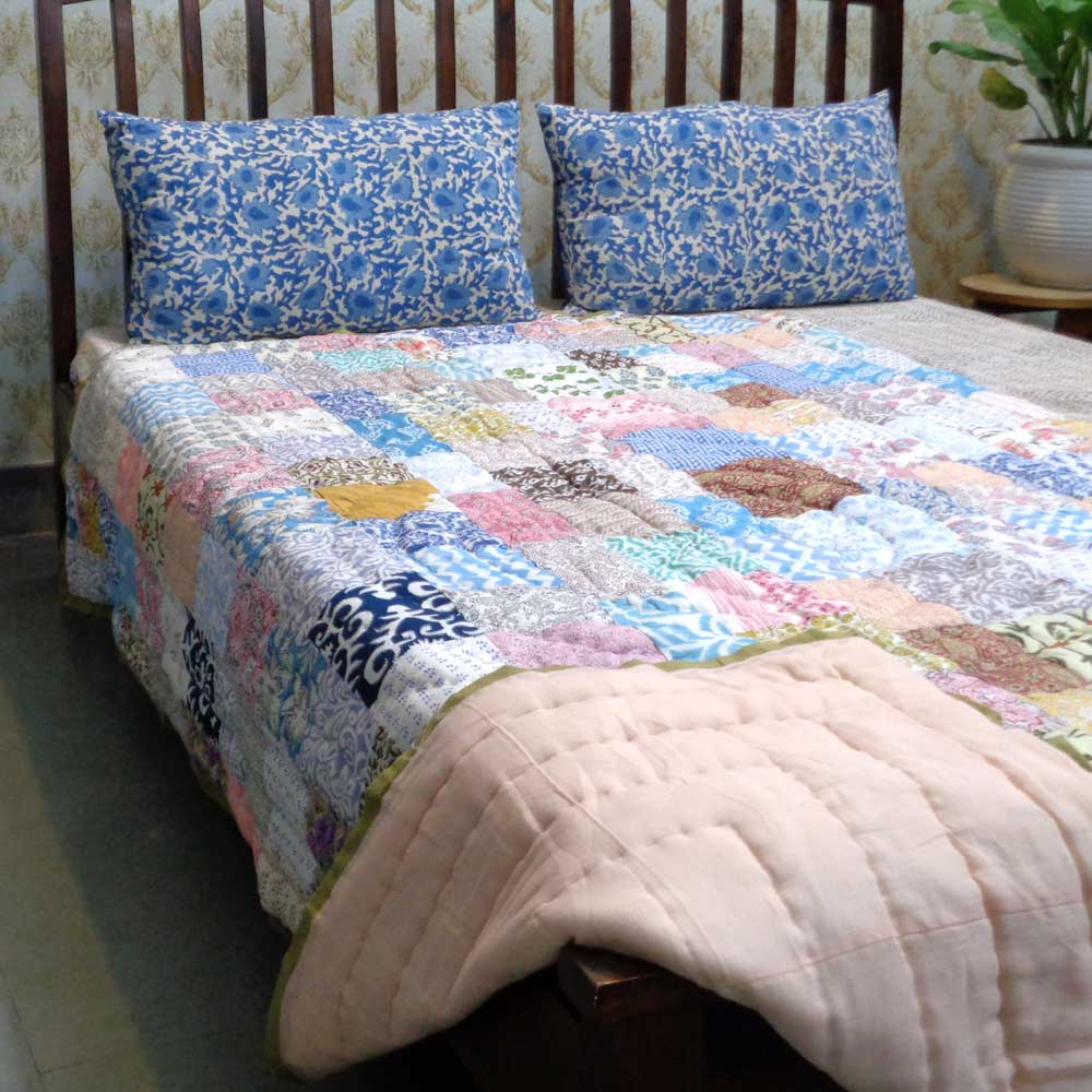 Hand Block Printed Cotton Patchwork Twin Size Quilt | 102957