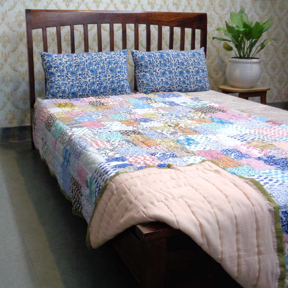 Hand Block Printed Cotton Patchwork Twin Size Quilt | 102958